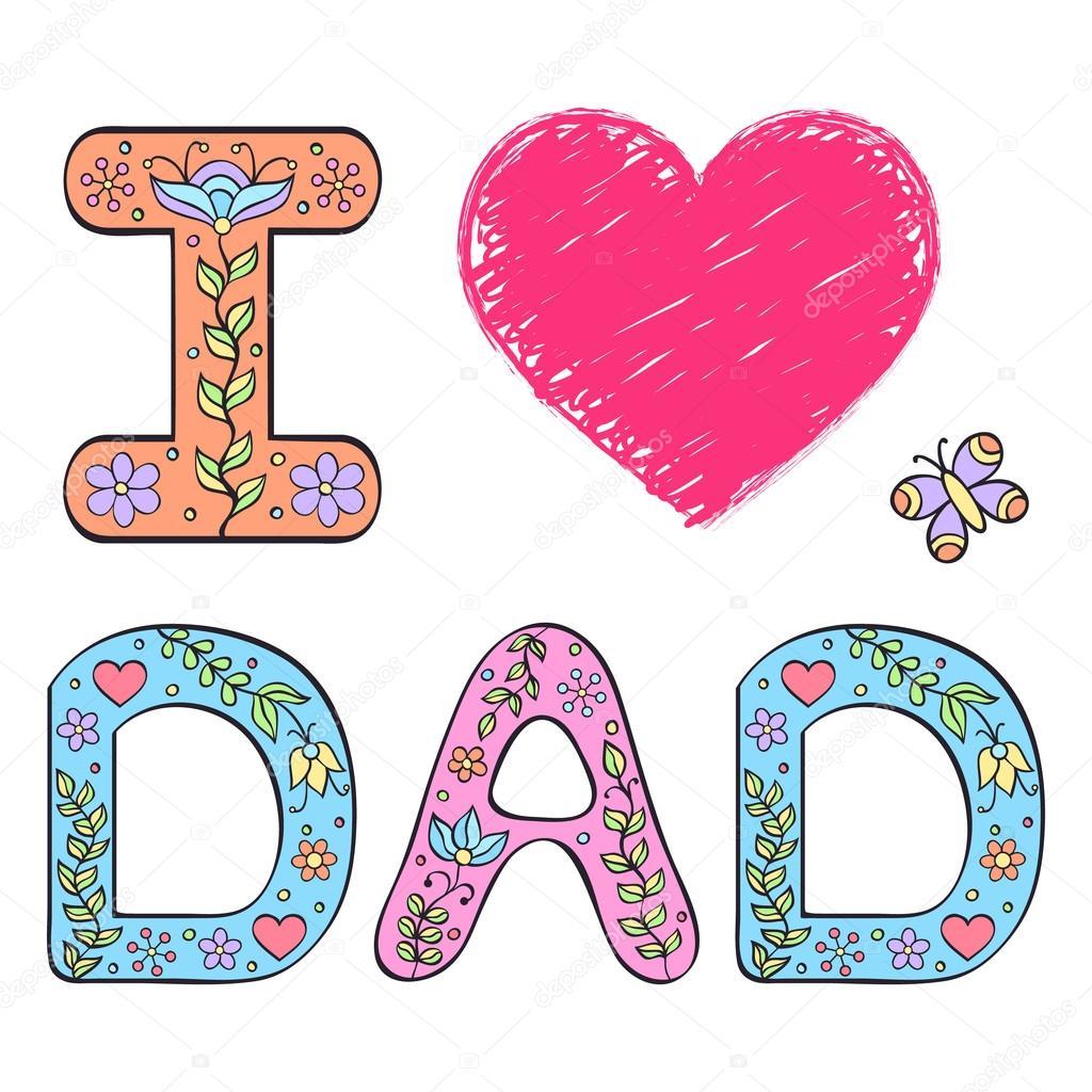Download Vector: te amo papá   Te amo papá — Vector de stock ...
