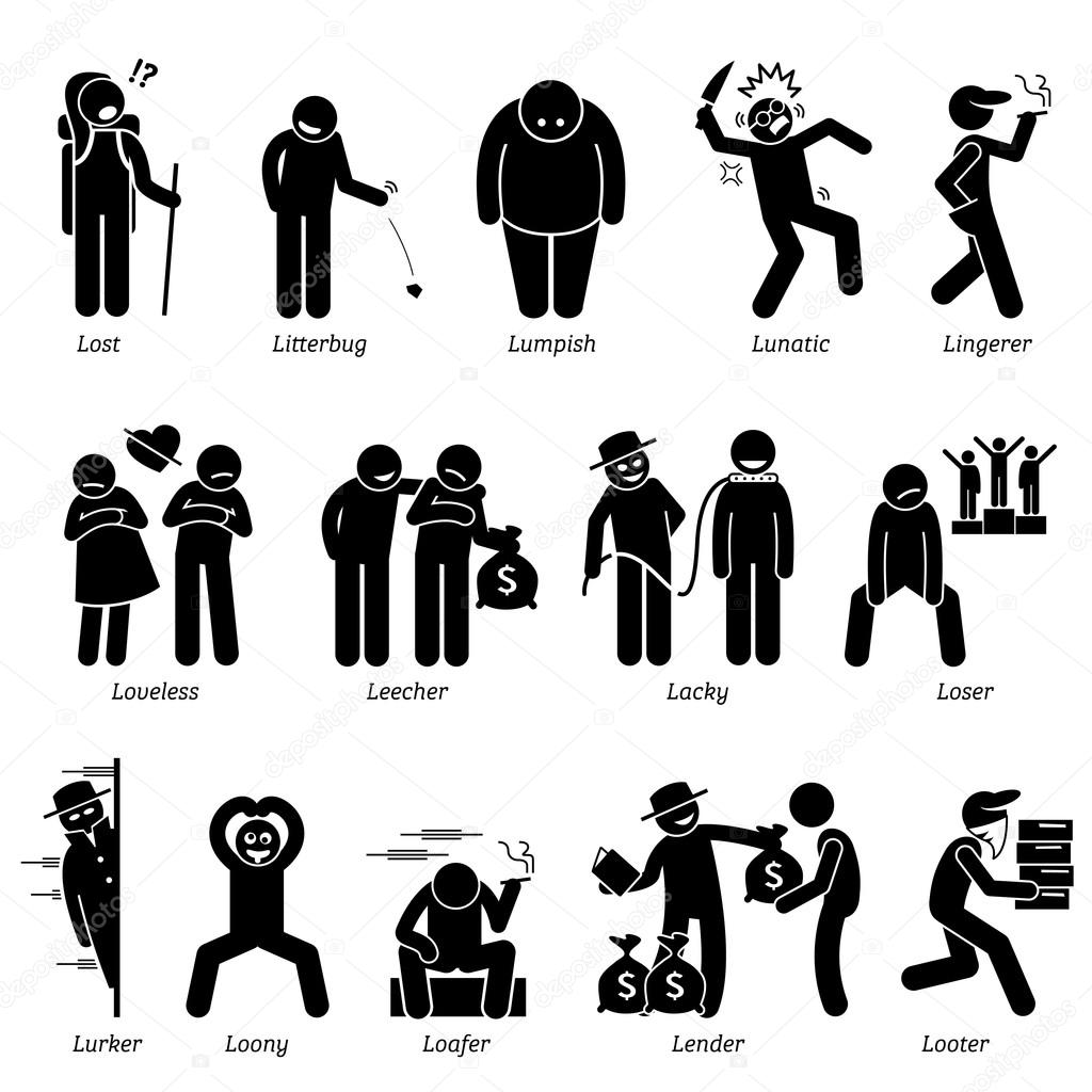 Negative Personalities Character Traits Stick Figures Man