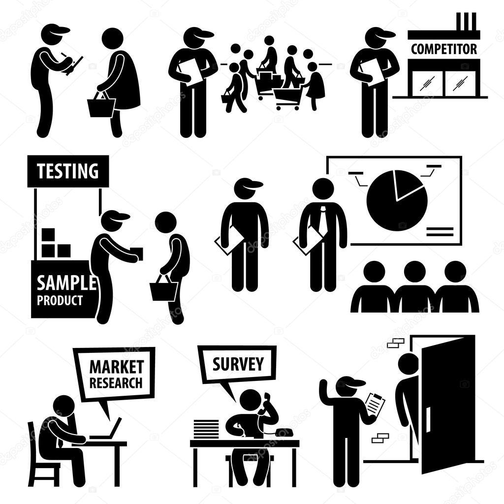 Business Market Surveyysis Research Stick Figure Pictogram Icons