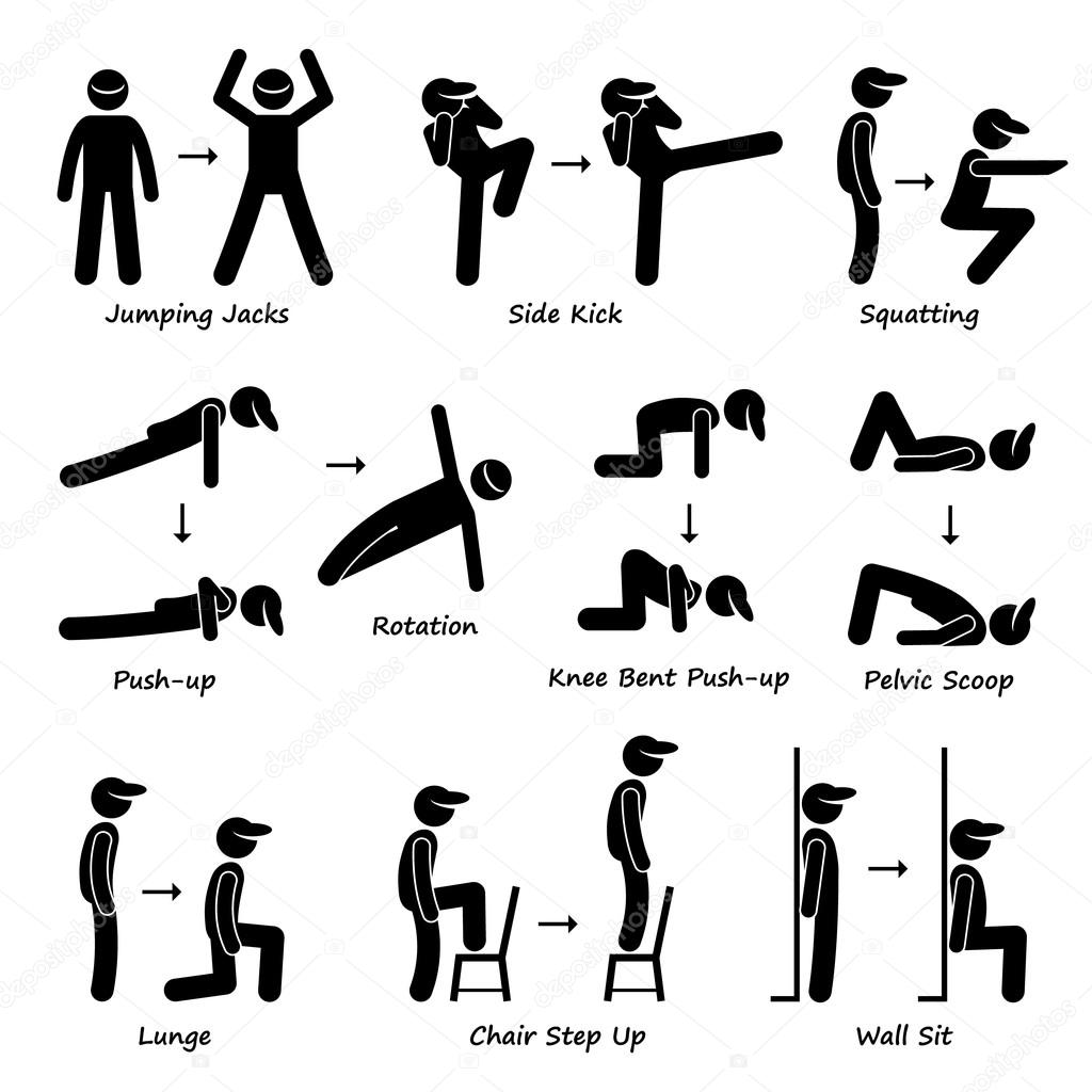 Body Workout Ubung Fitness Training Set 1 Strichmannchen