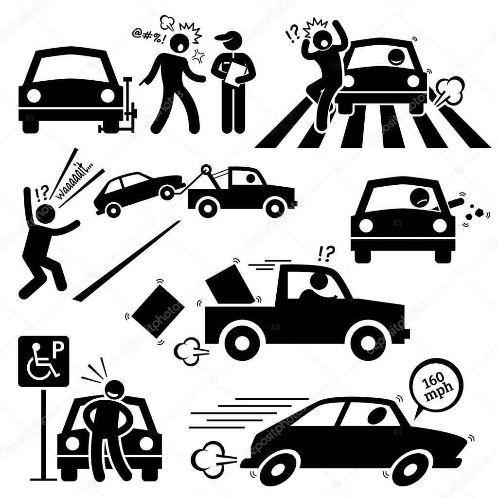 Bad Car Driver Furious Driving Pictogram