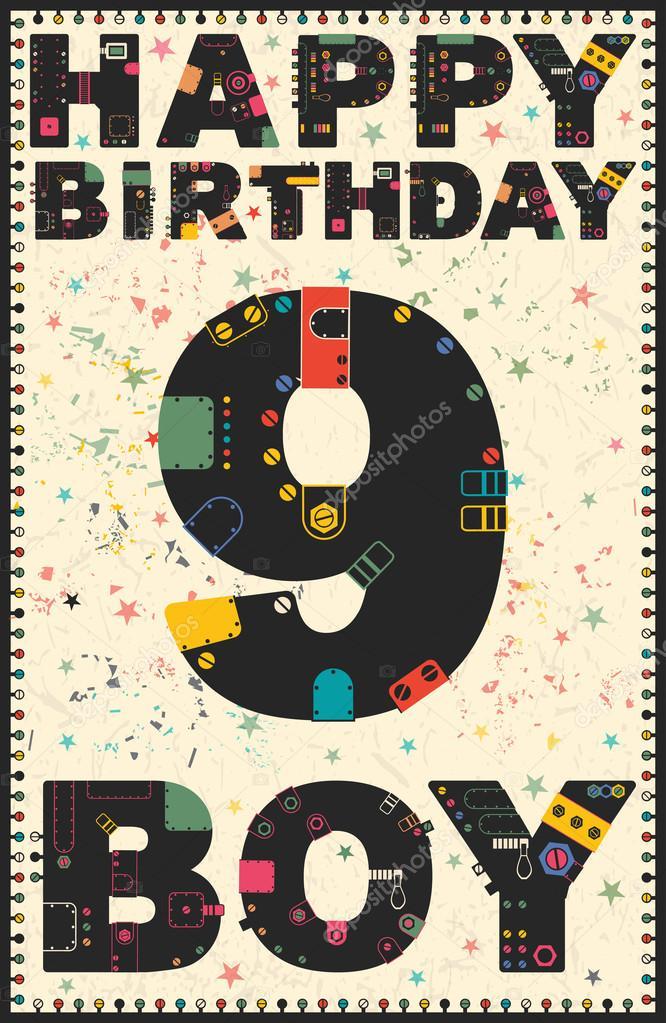 Happy Birthday Card Happy Birthday Boy 9 Years Vector Image By C Aleabievsasha Vector Stock 93125936
