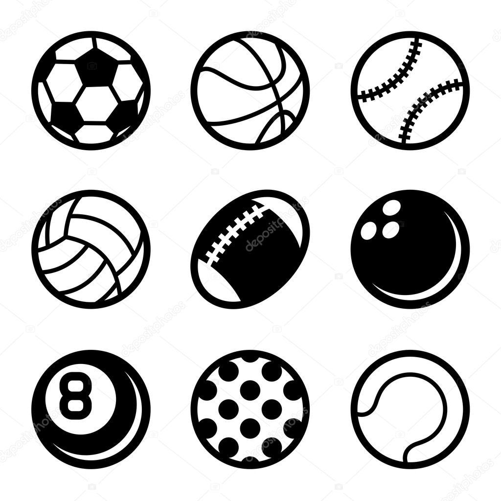 Deportes Pelotas Set De Iconos Sobre Fondo Blanco Vector