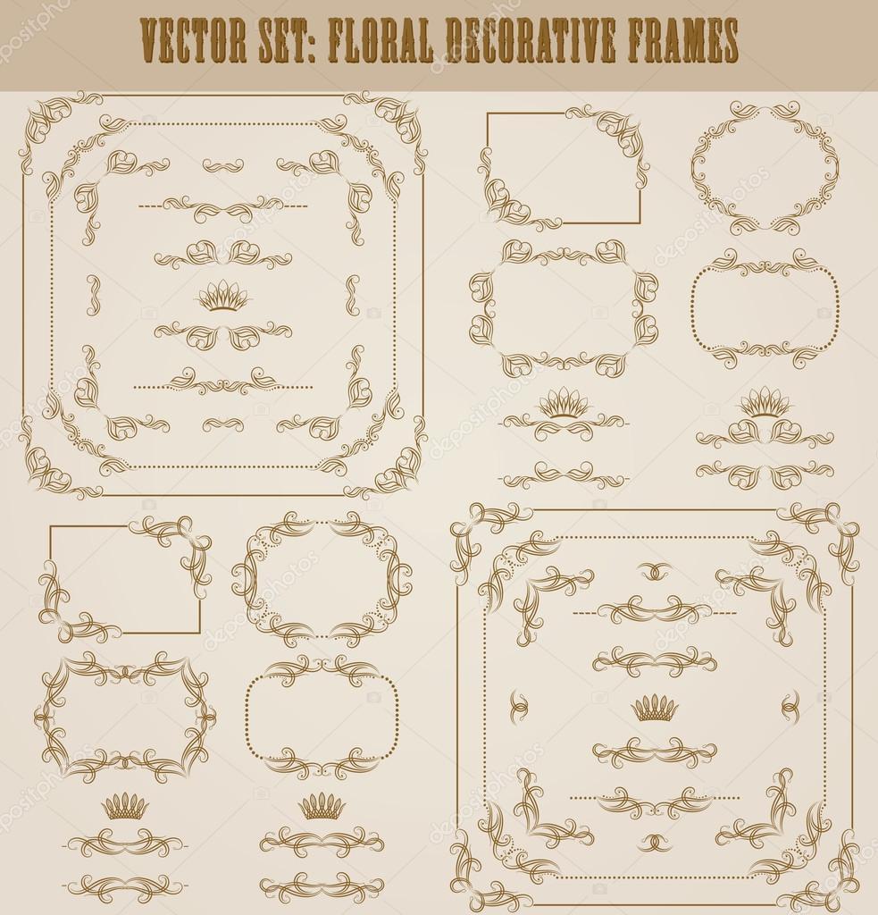 Ensemble Vectoriel De Bordures Decoratives Dorees Cadre Image Vectorielle Par Juli Goncharova C Illustration 112844116