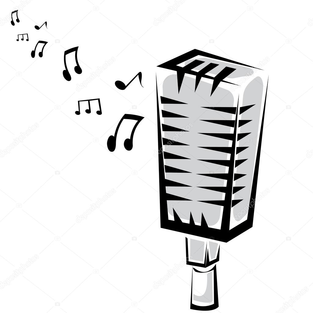 Retro Microphone Silhouette Vector Illustration