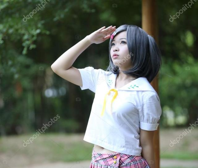 Asian School Girl In Outdoor Photo By