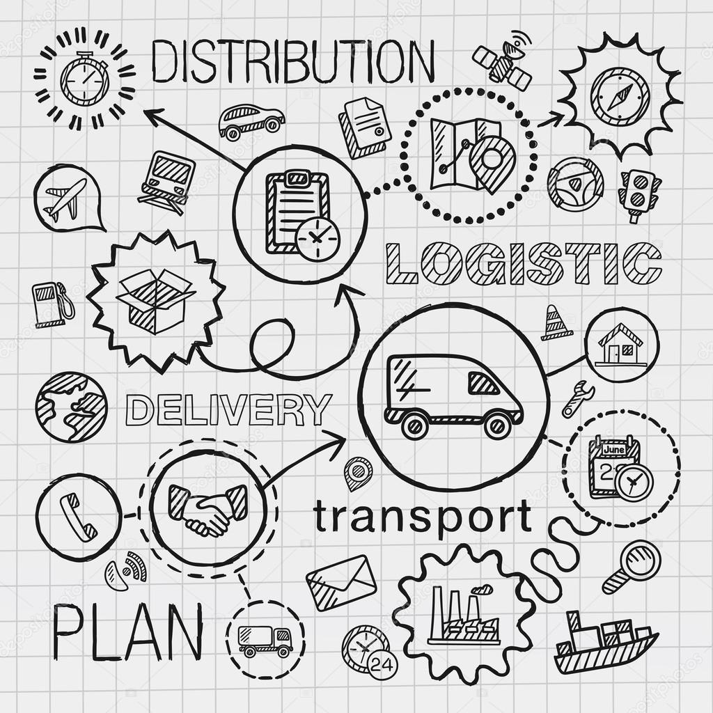 Logistique Part Dessiner Icones Integres