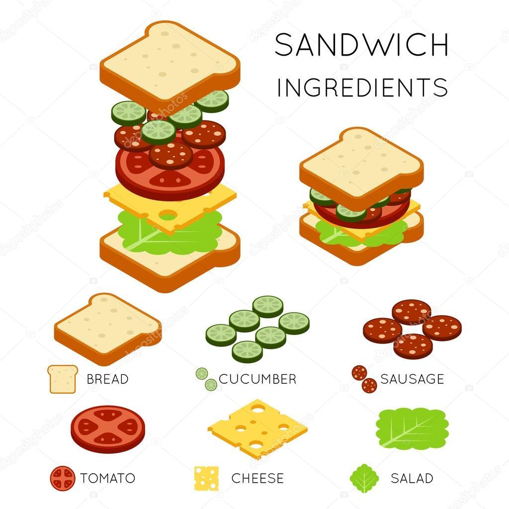 Vector Sandwich Ingre Nts In 3d Isometric Style