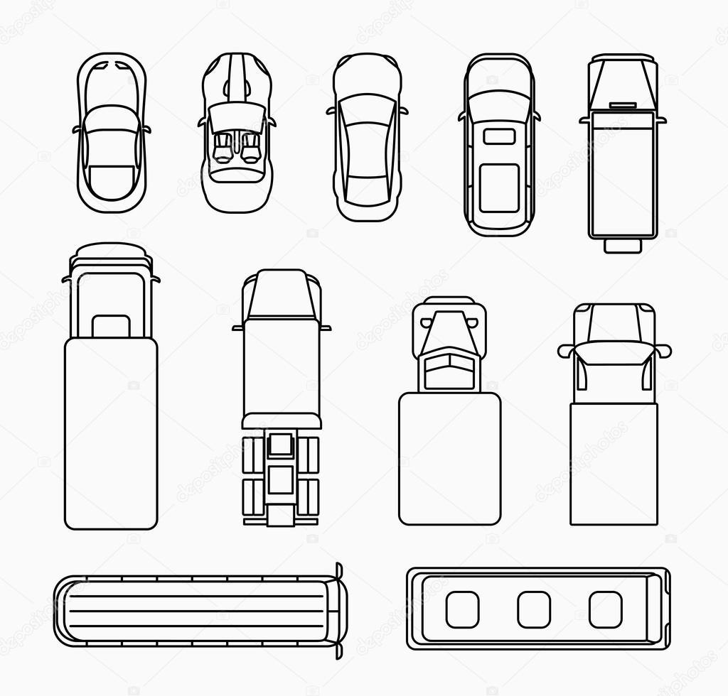 Autos Dunne Linie Symbole Draufsicht