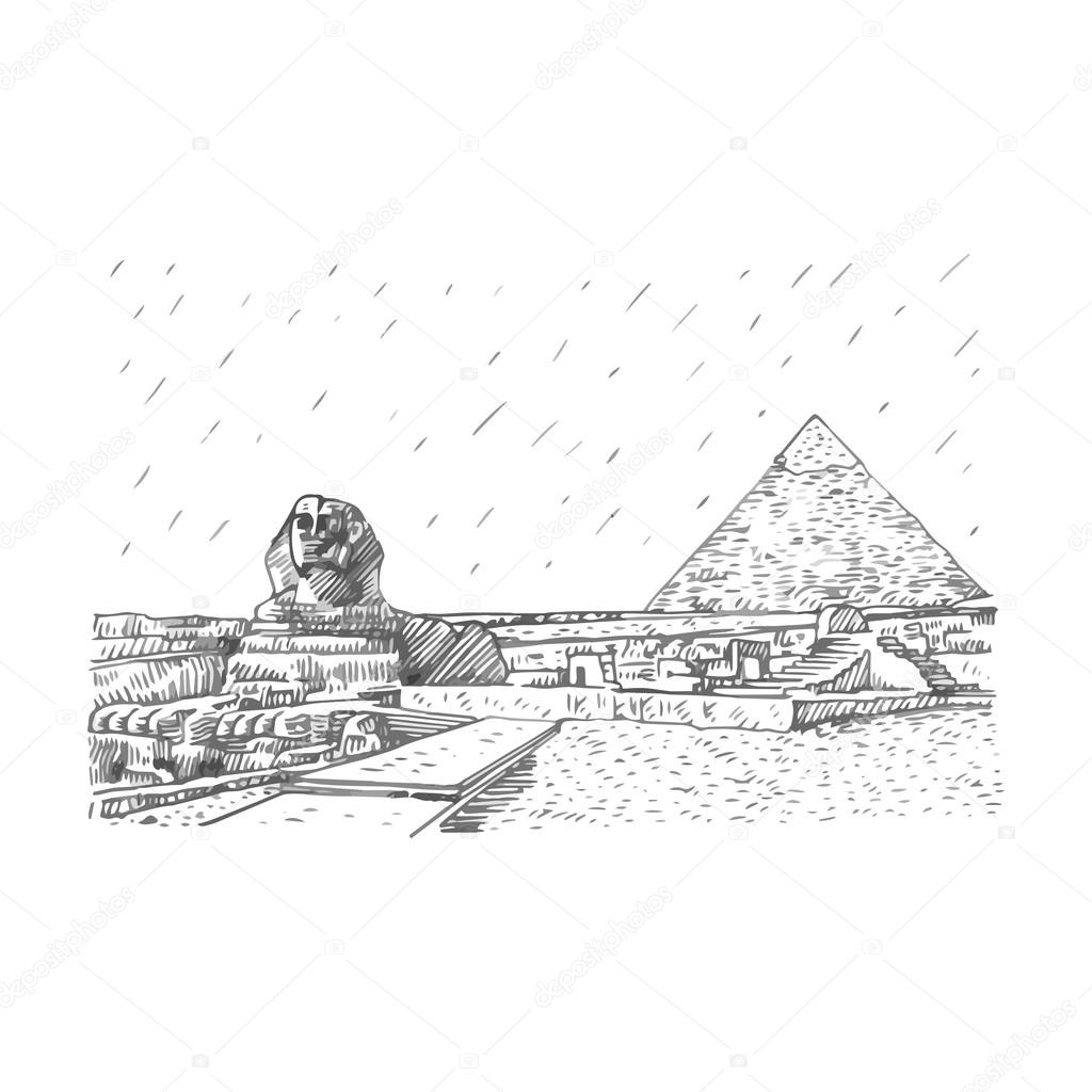 The Great Sphinx And Pyramid In Giza Cairo Egypt