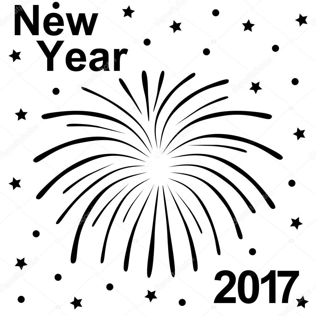 Feliz Ano Nuevo Silueta Texto Y Fuegos Artificiales