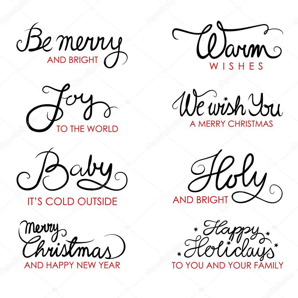 Navidad Deseos En Ingles Caligrafia Tipografia Frase
