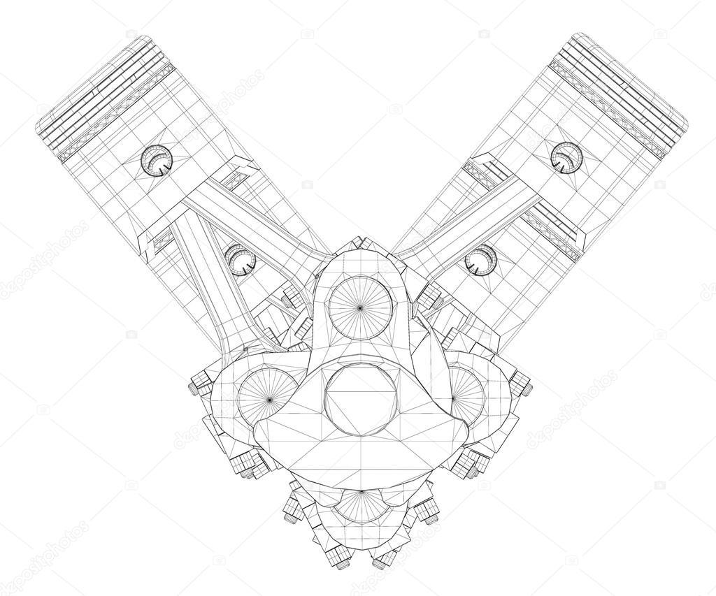 Kolben V8 Motor