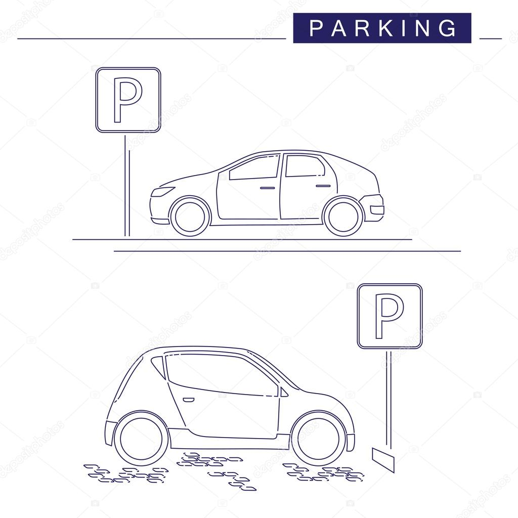 Grafika Liniowa Projekt Parking Na Bia Ym Tle Parking
