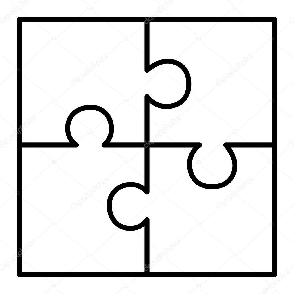 Diagrama Del Puzzle De Cuatro Piezas