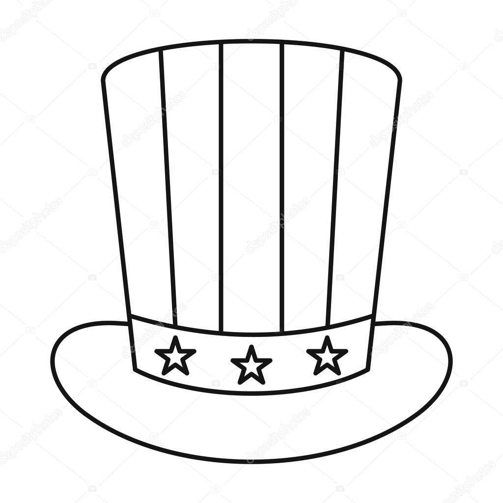 American Hat Icon Outline Style