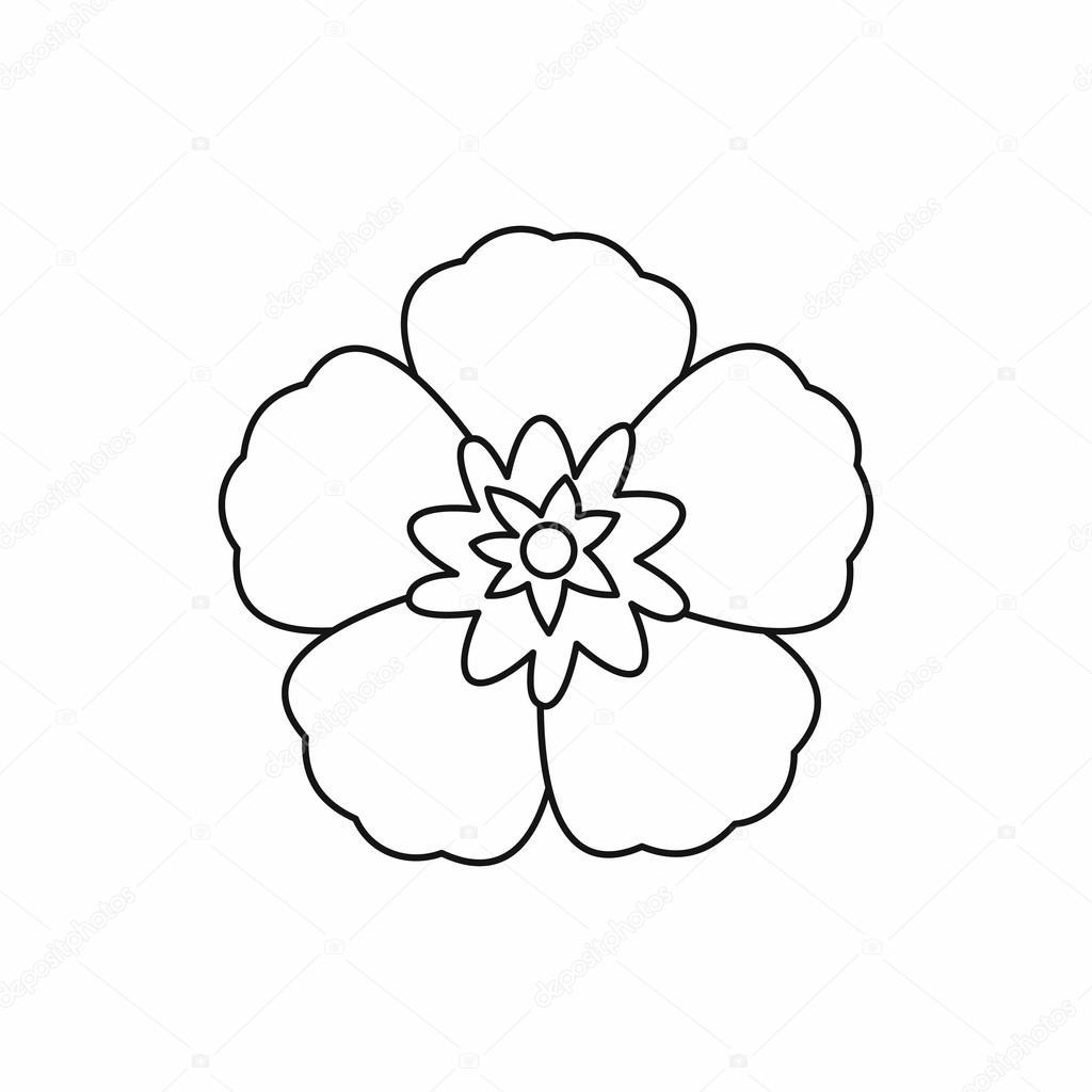Rose Of Sharon Korean Flower Icon Outline Style