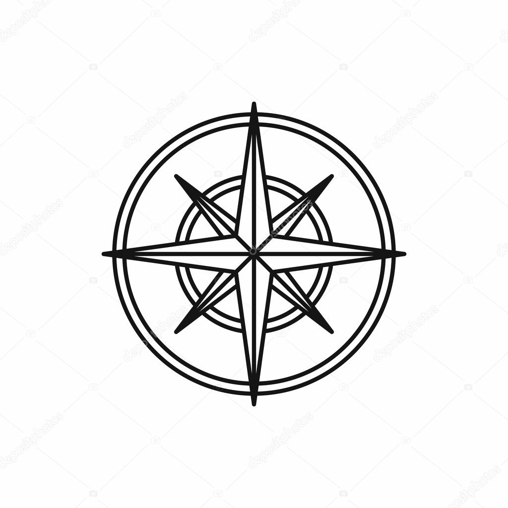 Compass Wind Rose Icon Outline Style