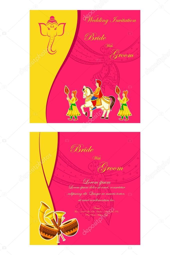 Indian Wedding Invitation Card Stock Vector 61545079