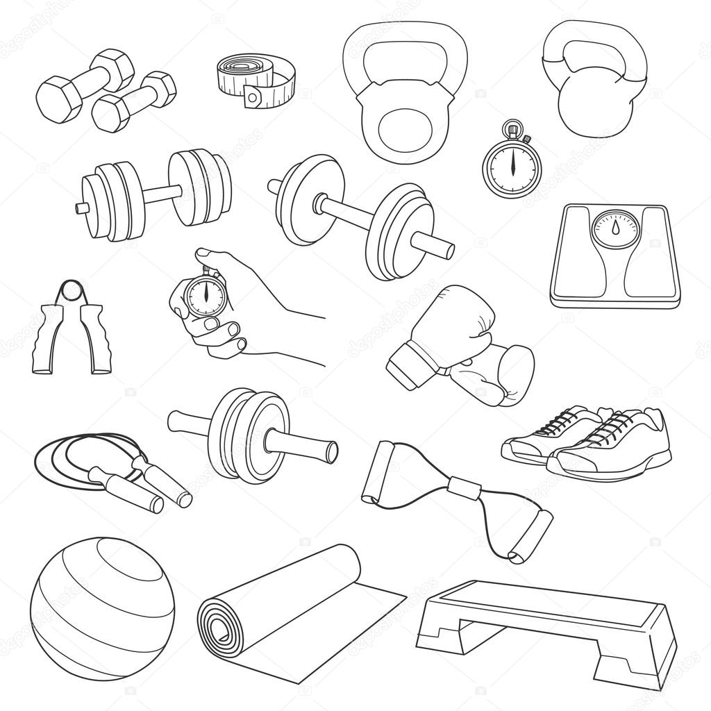 Hand Drawn Set Of Fitness Accessories Dumbbells Exercise
