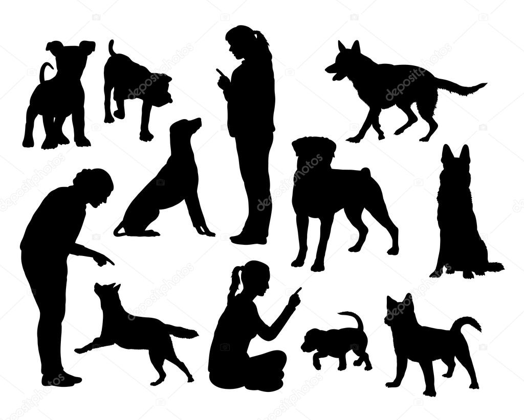 Dog Training Silhouettes Stock Vector Cundrawan703