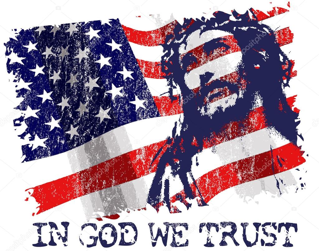 Jesus Christ On American Flag Background Stock Vector