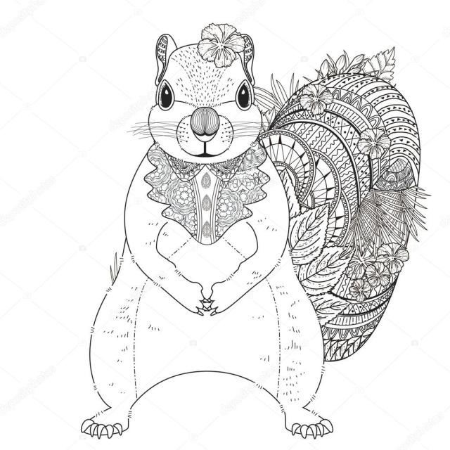 Adorable squirrel coloring page Stock Vector Image by ©kchungtw
