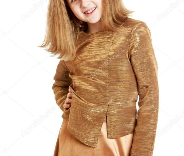 Adorable Blonde Schoolgirl With Long Flowing Blonde Hair In A Fashionable Satin Suit Beige Close Up Isolated On White Background Photo By Lotosfoto