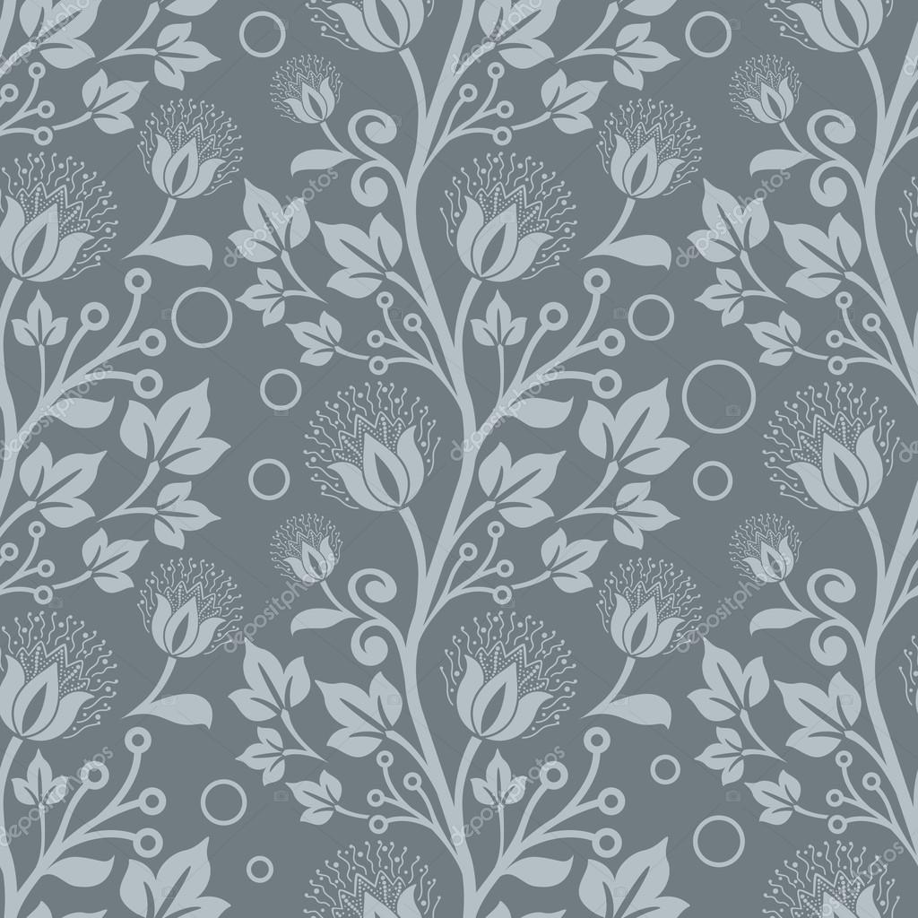 Seamless Blue Floral Vector Wallpaper Pattern Stock Vector C Lenapix 59476595