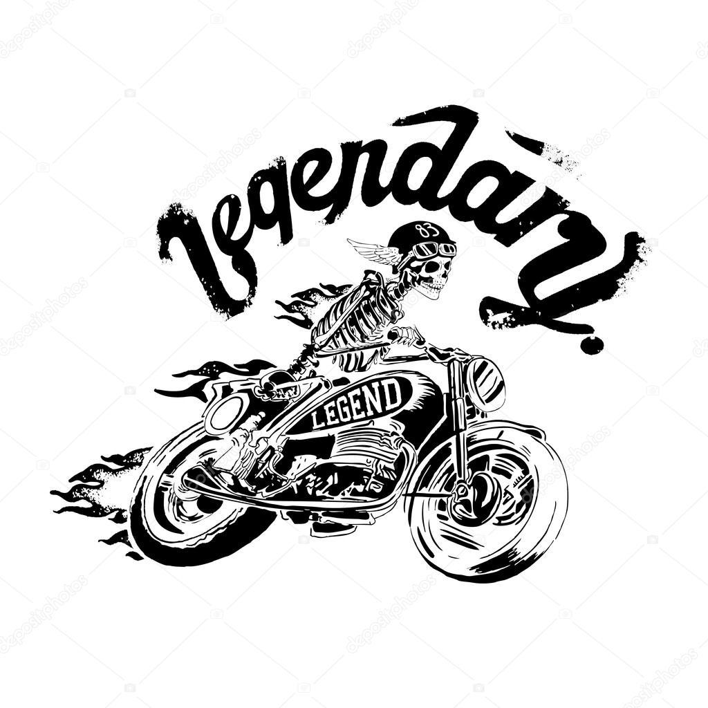 Skeleton In Helmet On Motorcycle