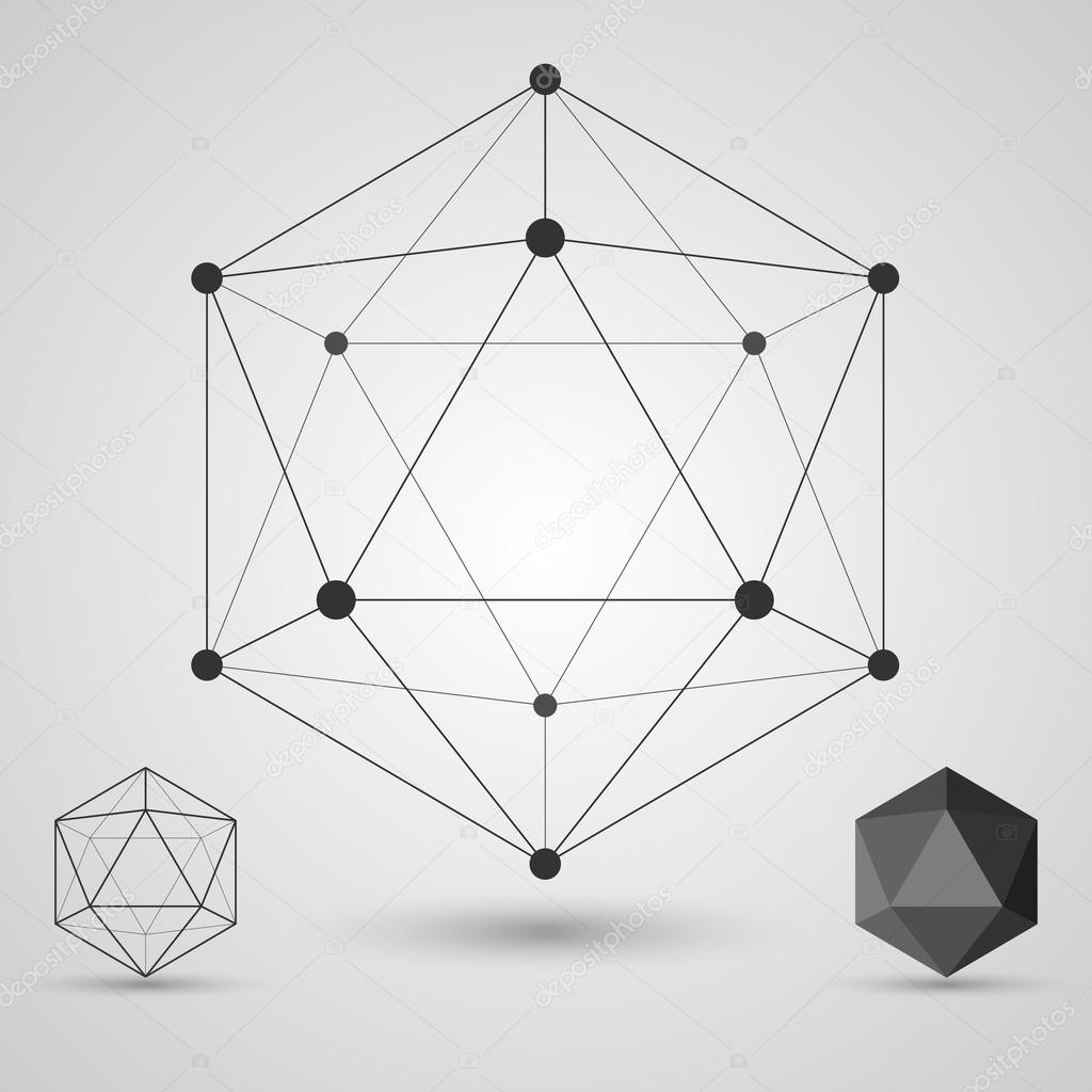 Frame Volumetric Geometric Shapes With Edges And Vertices Geometric Scientific Concept