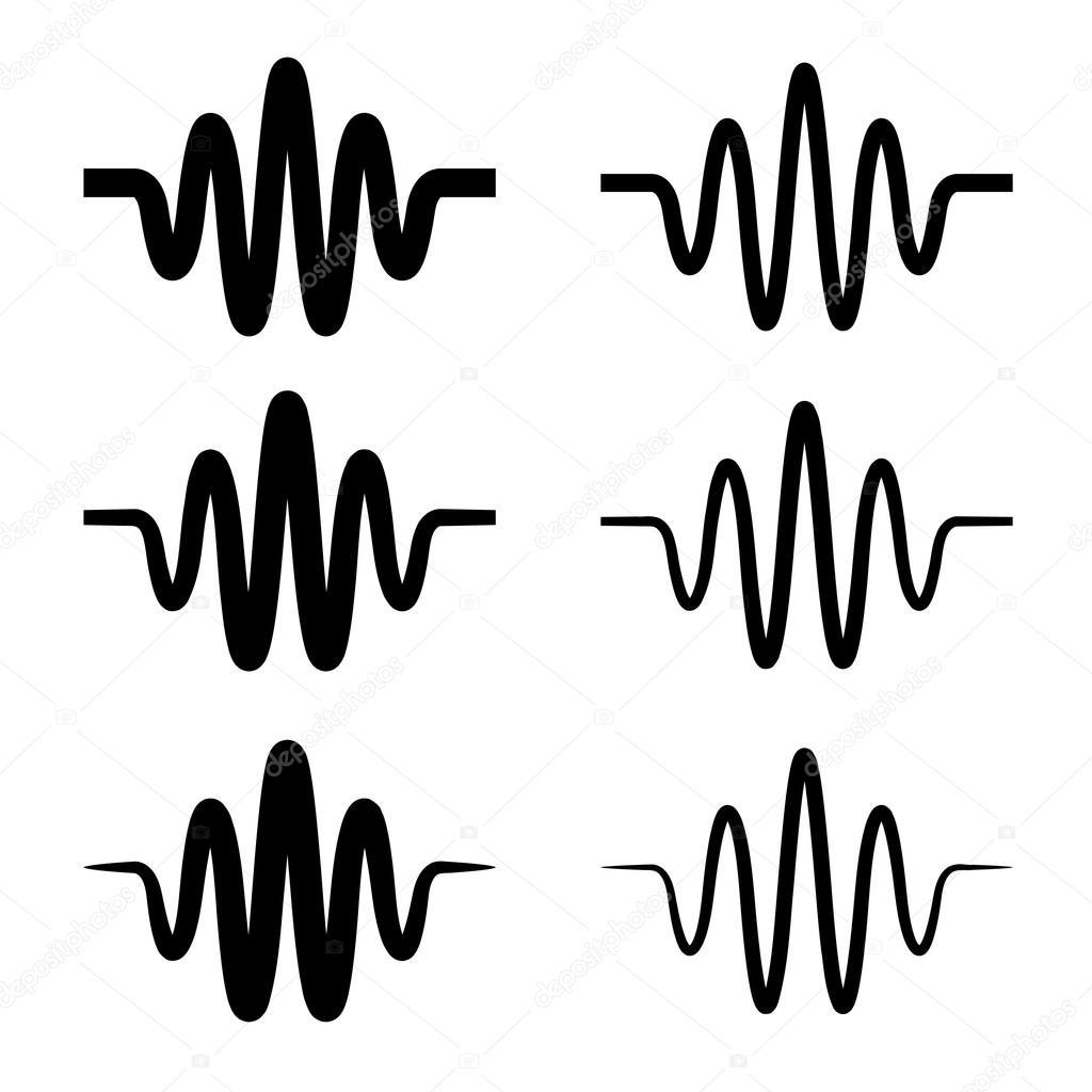 Simbolo De Onda Sinusoidal De Som Preto