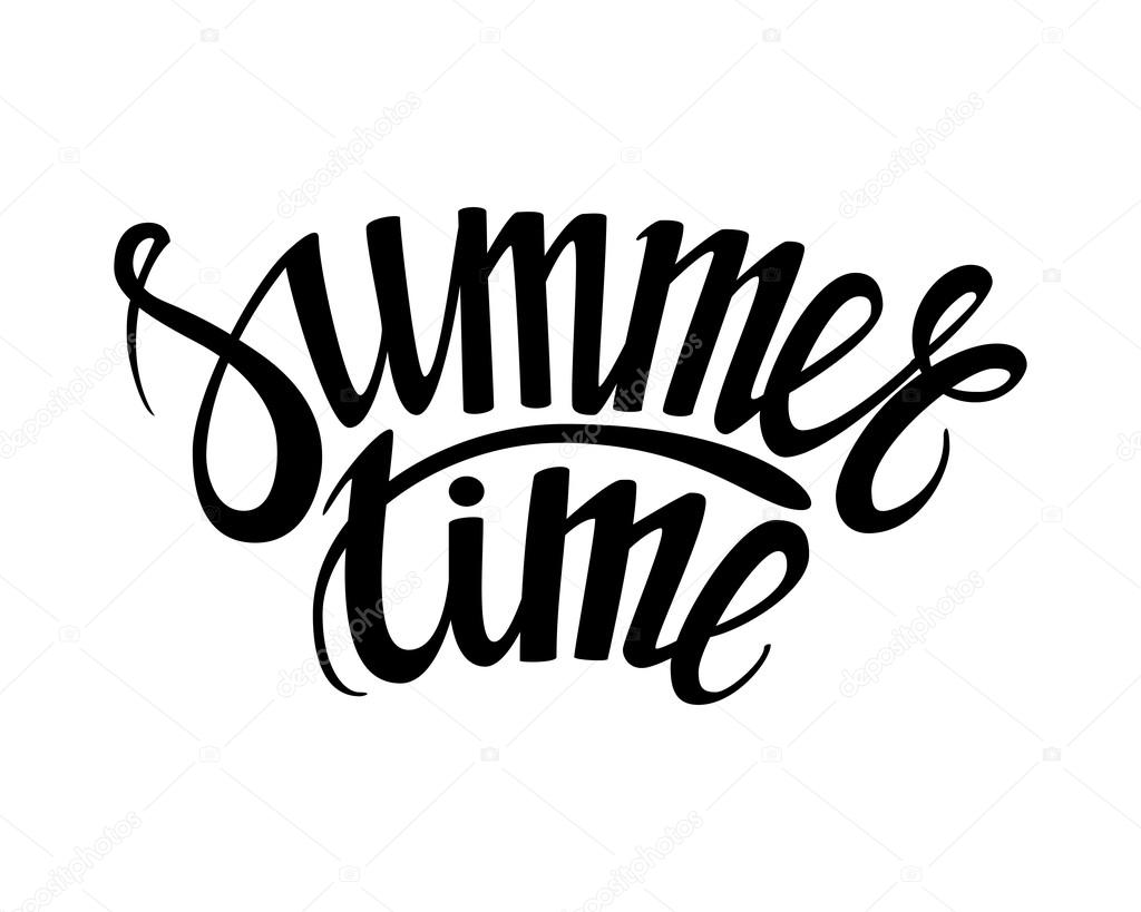 Hand Drawn Phrase Summer Time Isolated On The White