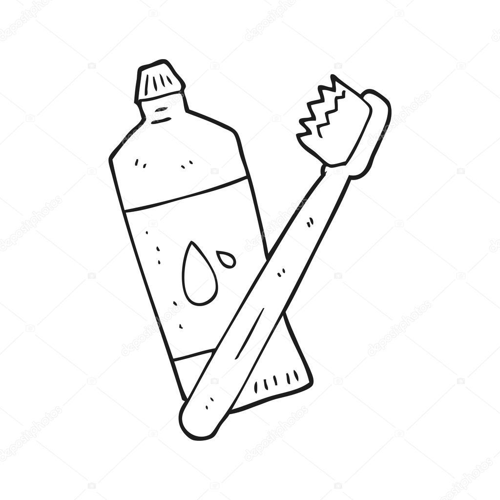 Black And White Cartoon Toothbrush