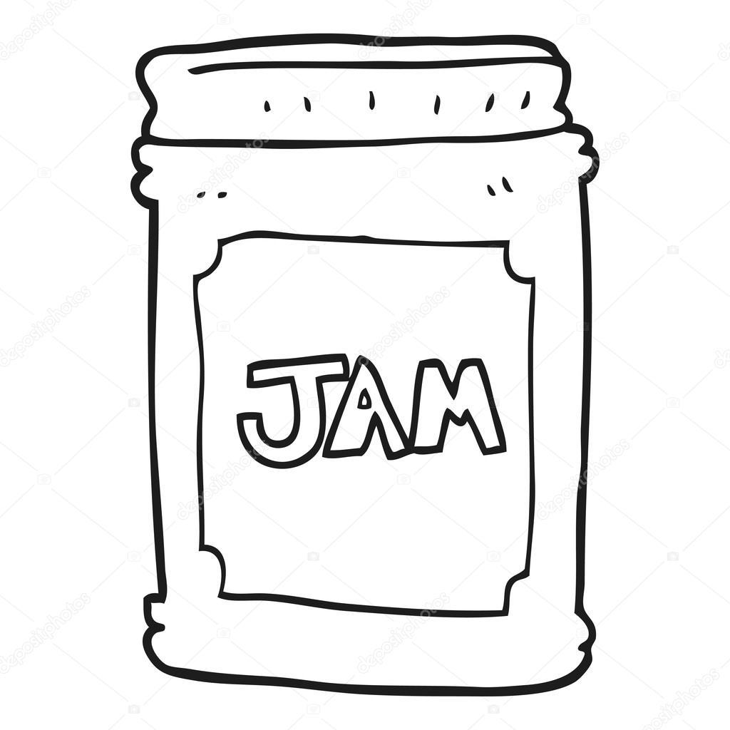 Black And White Cartoon Jam Jar