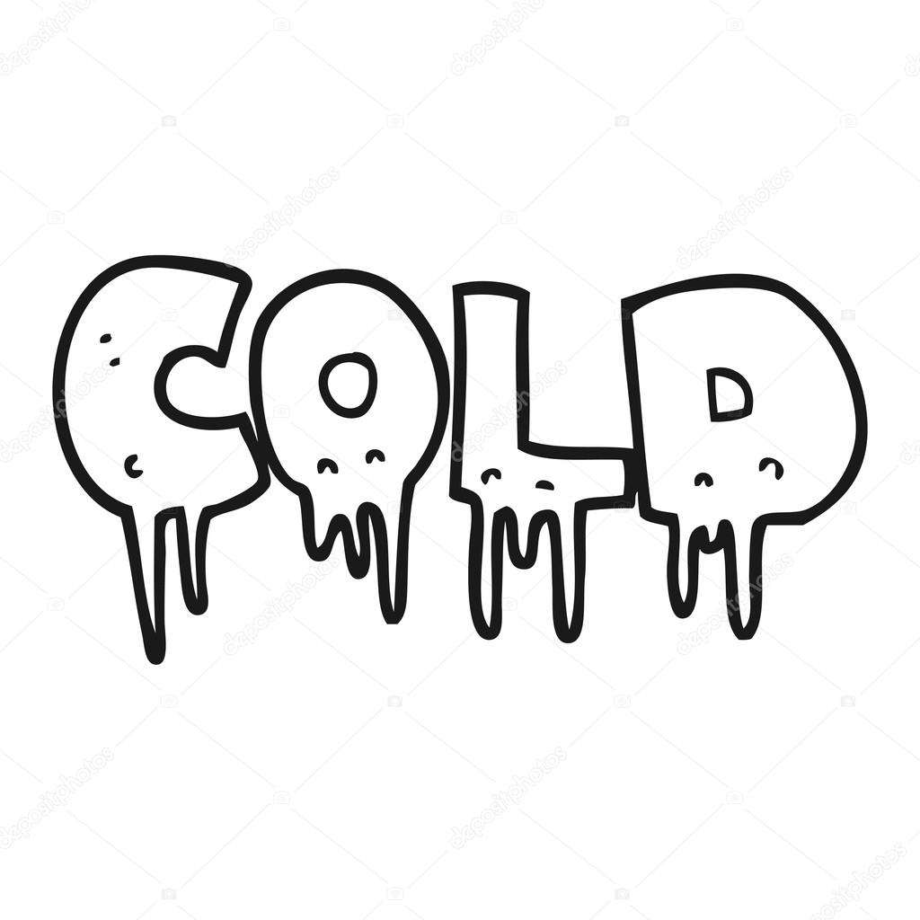 Black And White Cartoon Word Cold