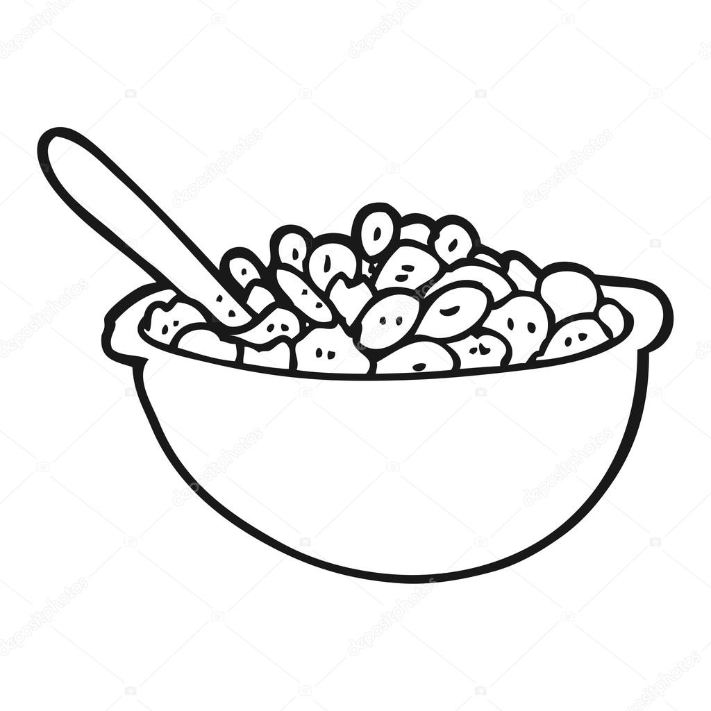 Black And White Cartoon Bowl Of Cereal