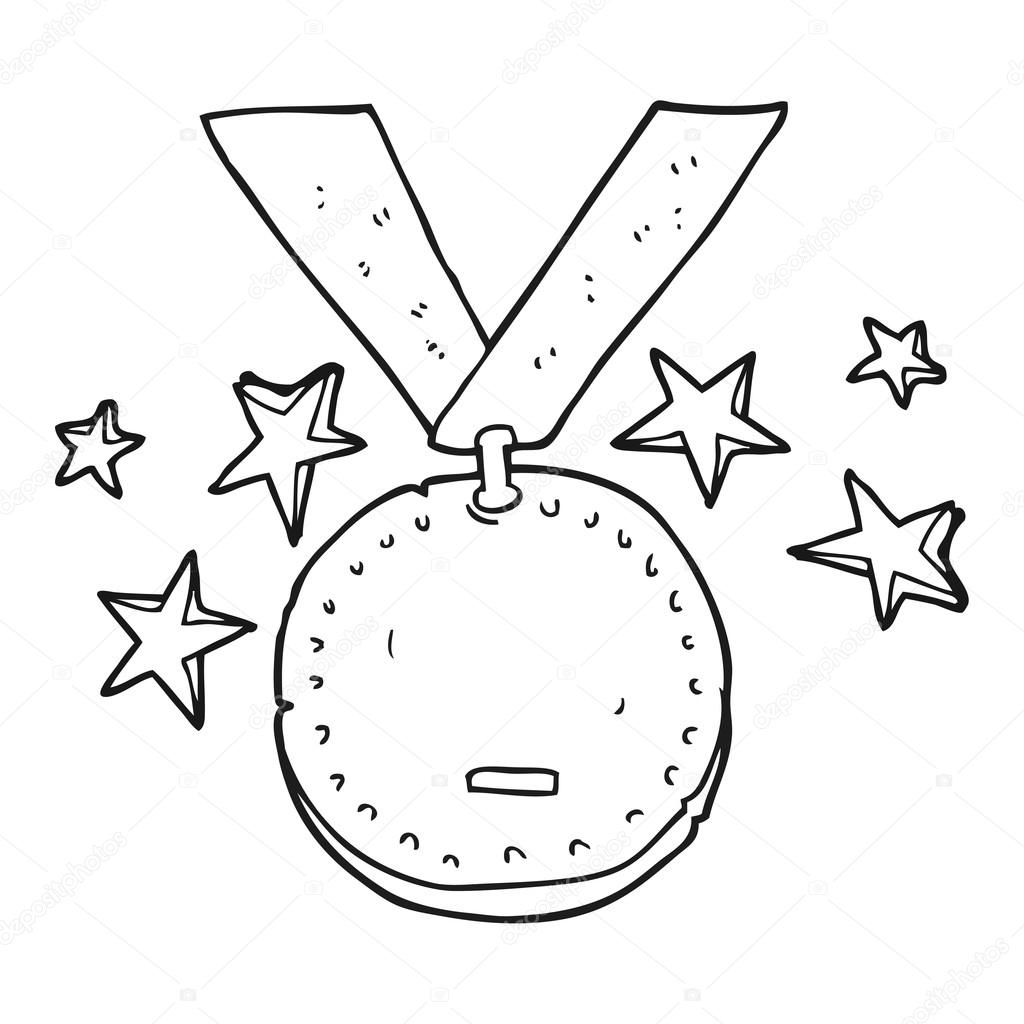 Black And White Cartoon Sports Medal
