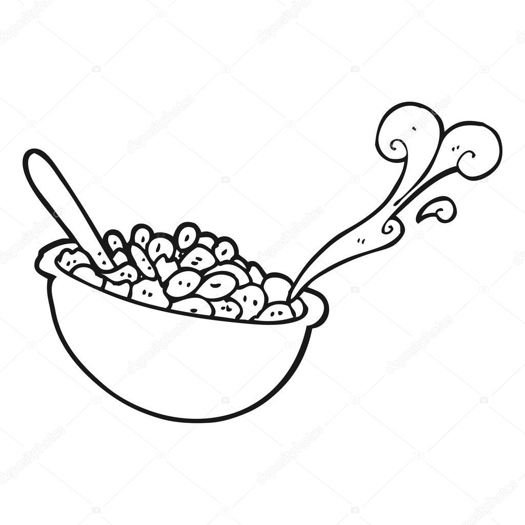 Tazon Blanco Y Negro De Dibujos Animados De Cereal