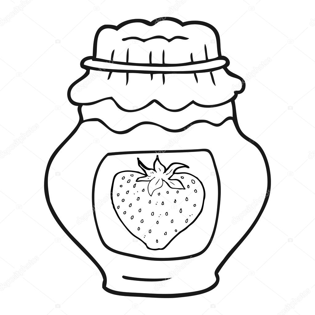 Black And White Cartoon Jar Of Strawberry Jam