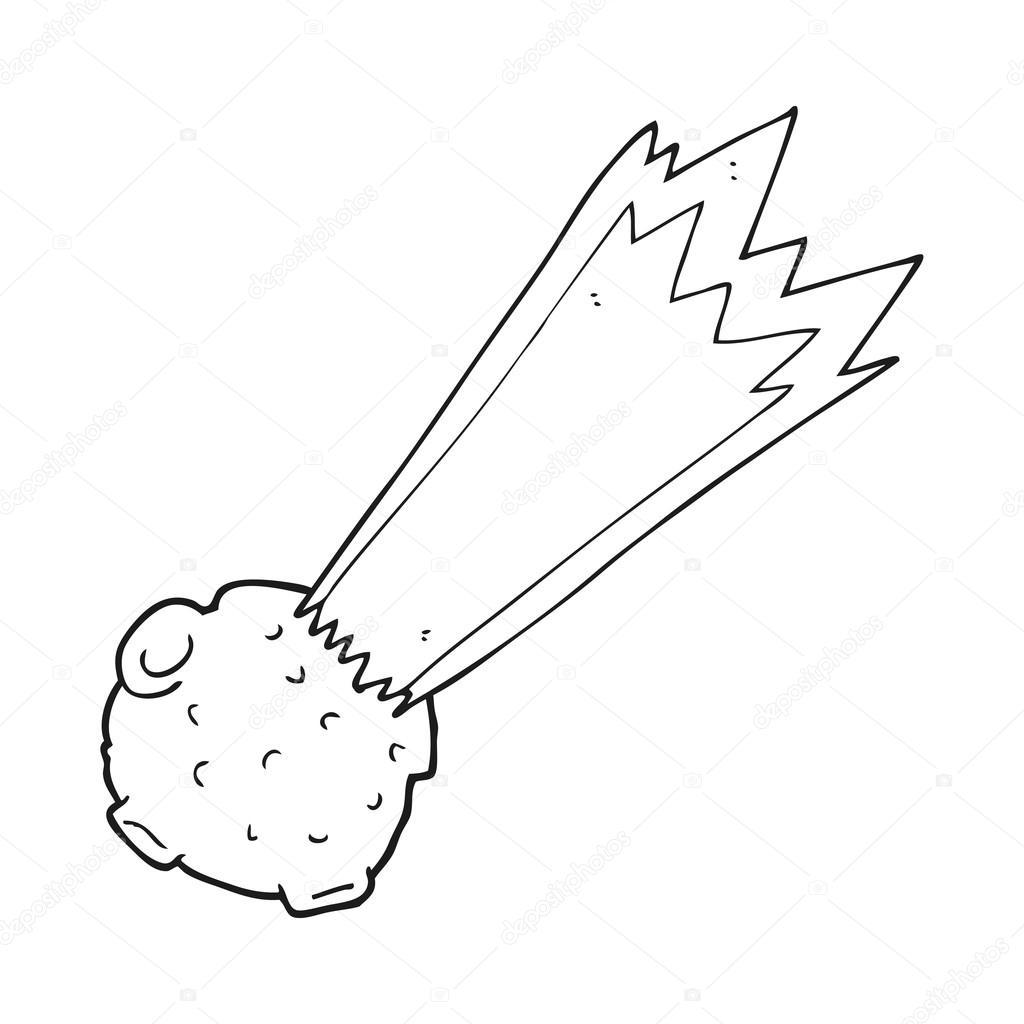Black And White Cartoon Meteor