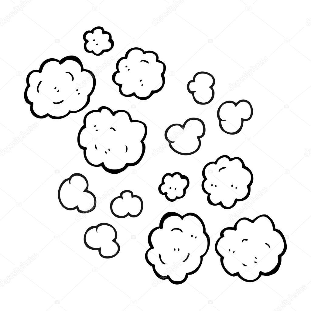 Nubes De Humo Blanco Y Negro De Dibujos Animados
