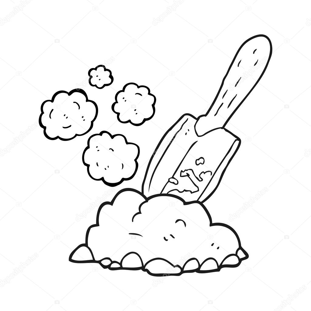 Black And White Cartoon Trowel Digging Earth