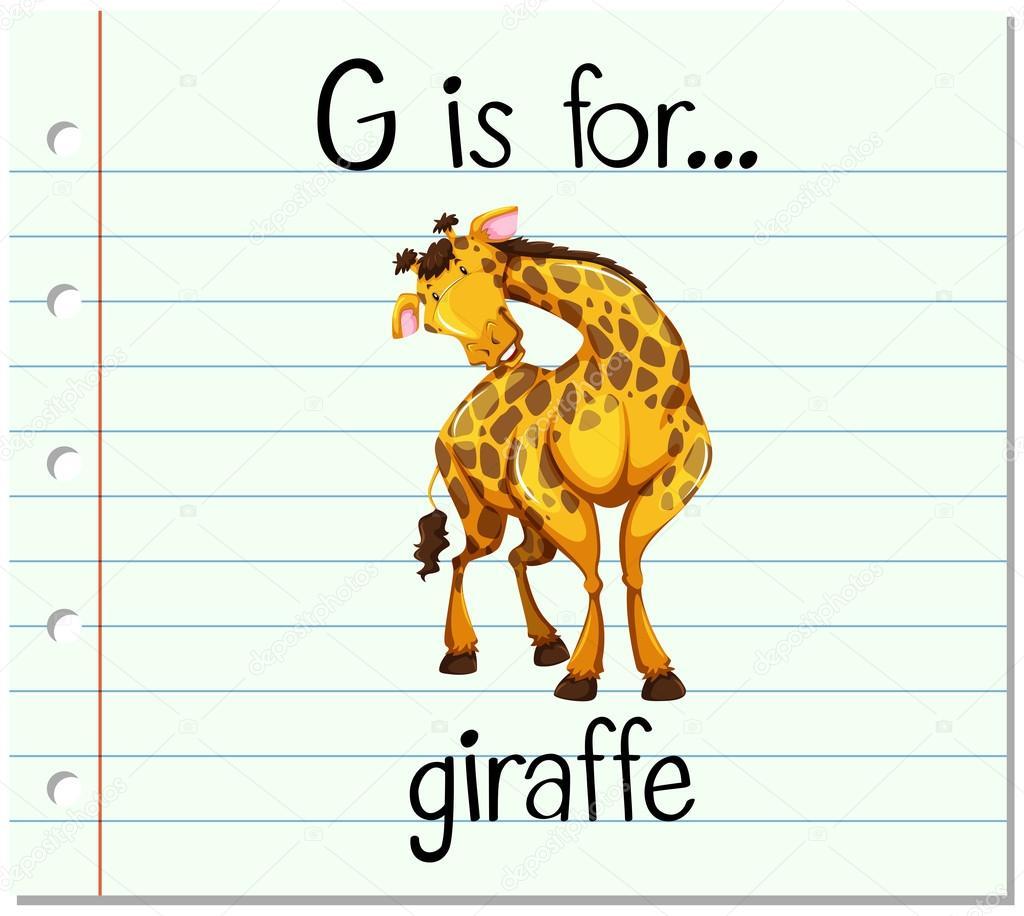 Flashcard Letter G Is For Giraffe