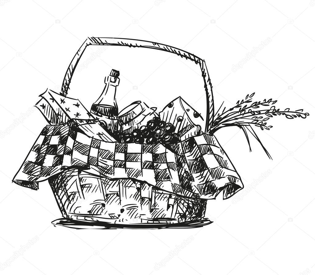Picknick Korb Mit Imbiss Hand Gezeichnet