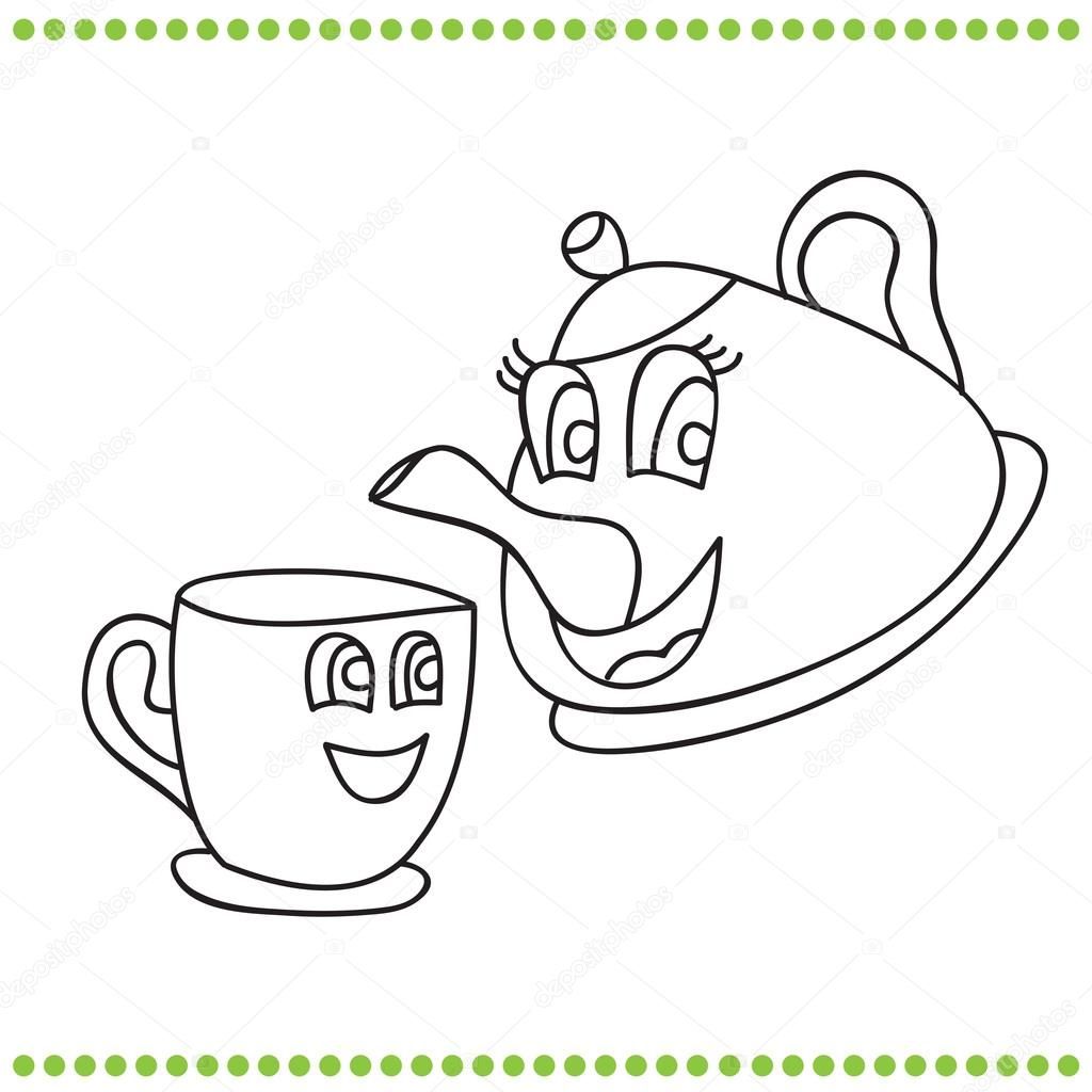 Teapot And Cup Coloring Page Sketch Coloring Page