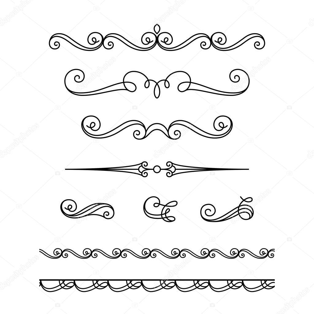 Ensemble De Calligraphie Vignettes Et Ornements
