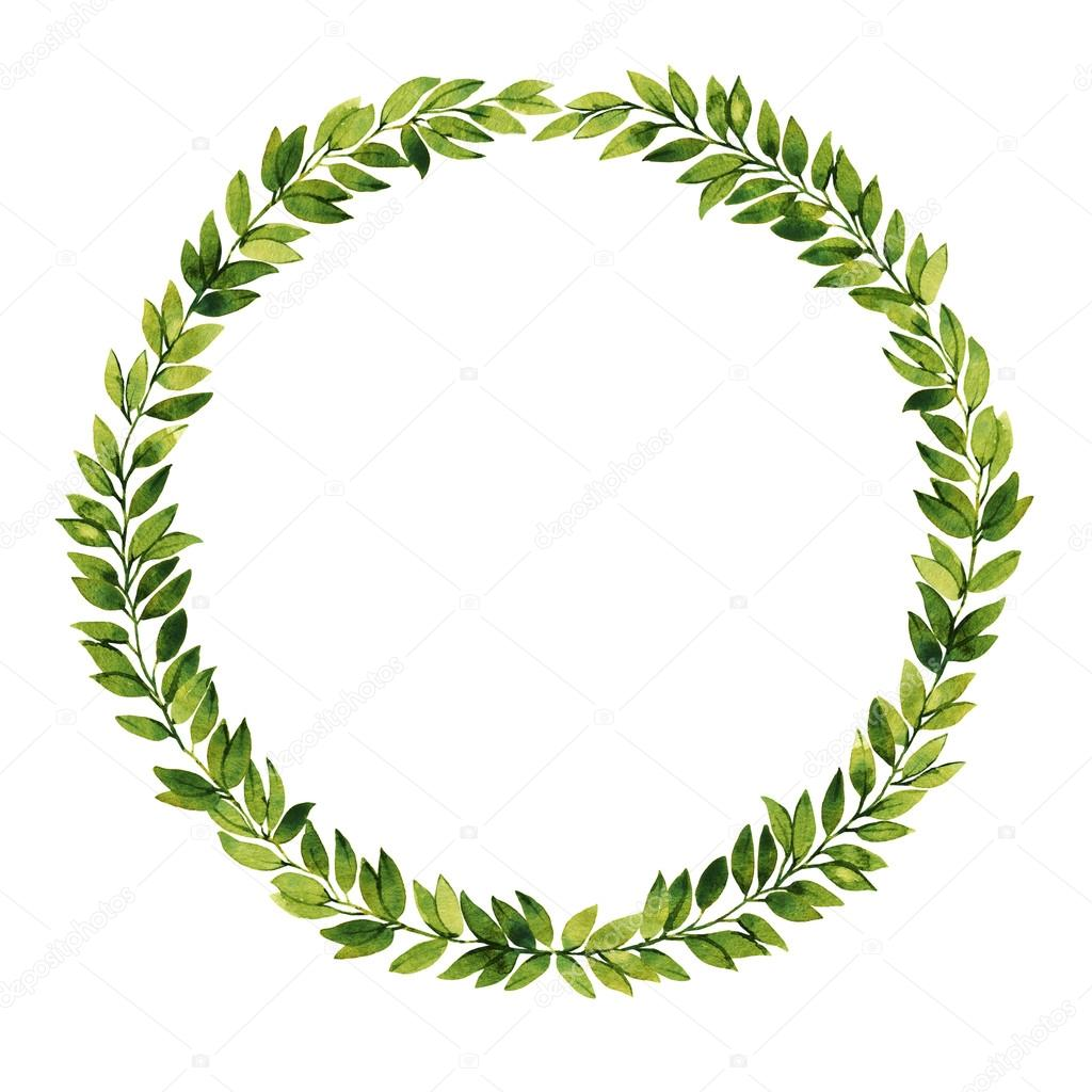 Green Leaf Watercolor Wreath — Stock Photo © Anamad #84974710