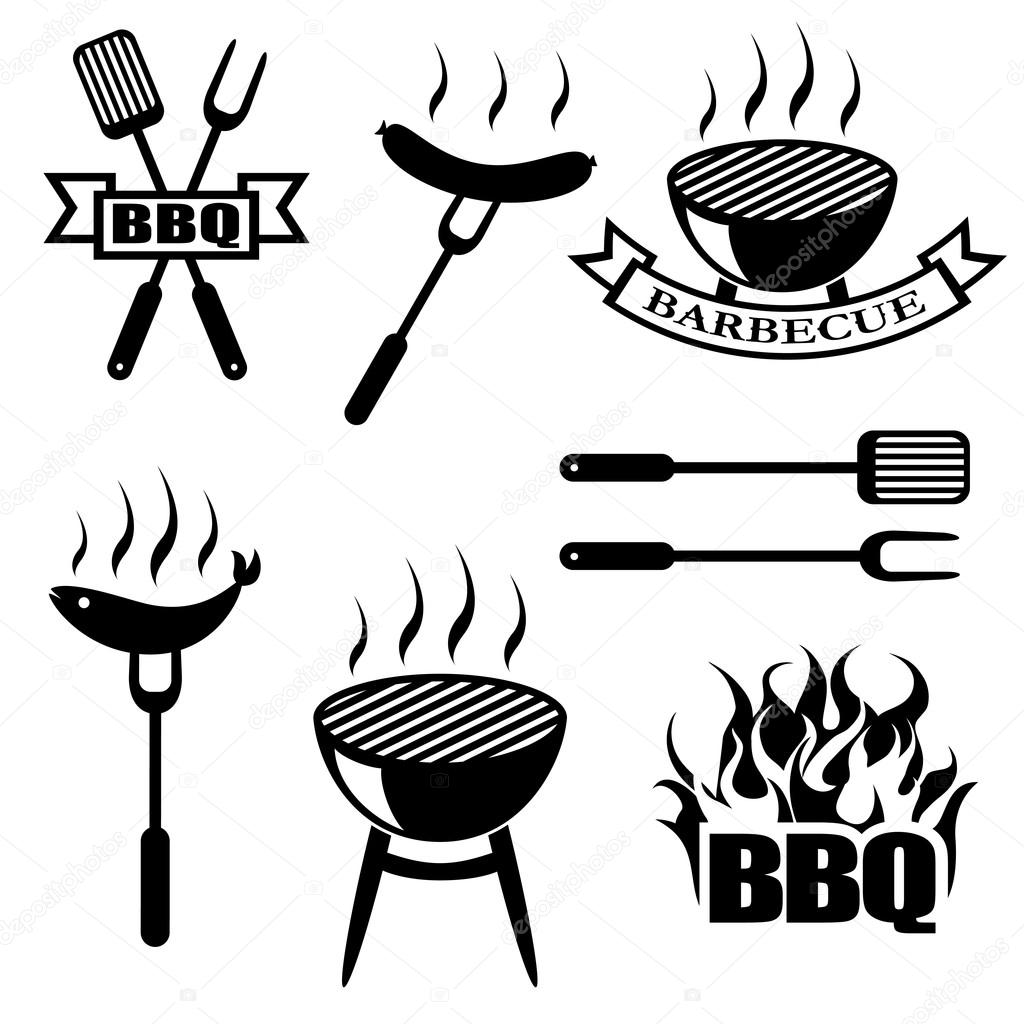 Set De Barbacoa Iconos Logos Insignias Etiquetas