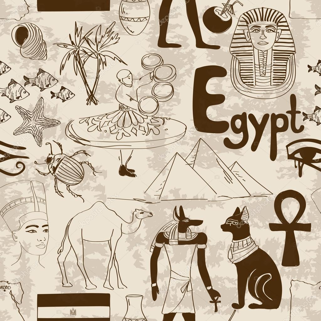 Schizzo Seamless Pattern Di Egitto